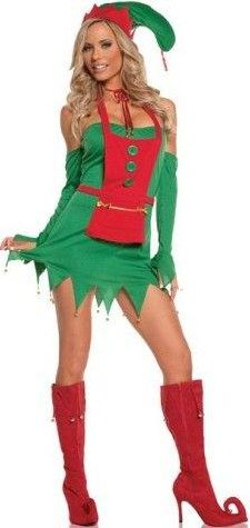 d66f022df451f FANCY DRESS HOLIDAY HELPER COSTUME - ELF OUTFIT / ELF GIRL UNIFORM - SEXY 4  PC LADIES SANTA'S LITTLE HELPERS COSTUMES , ELFS OUTFITS & GREEN CHRISTMAS  ELVES ...
