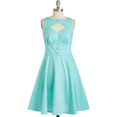 50s Mid-length Sleeveless Fit & Flare Flair Maiden Dress ($54) ❤ liked on Polyvore featuring dresses, modcloth, robes, vestidos, apparel, blue, fashion dress, cut out dress, blue cutout dress and blue fit and flare dress