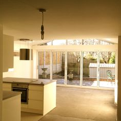 Under construction internal shot of kitchen family room Bungalow Extensions, Garden Room Extensions, House Extensions, Single Storey Extension, Rear Extension, Extension Ideas, Kitchen Family Rooms, Kitchen Room Design, Kitchen Ideas