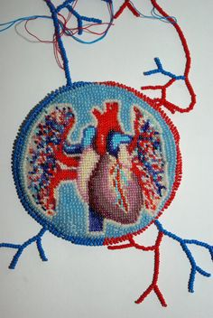 OOAK bead embroidered anatomical heart necklace by nepinka on Etsy, $180.00