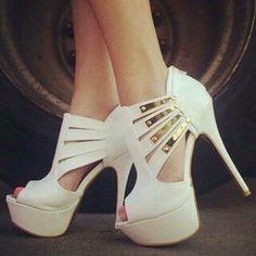 *ο* #shoes - #γοβες heels, white