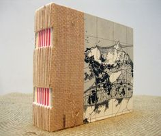 Small Handmade Book- woven paper exposed spine