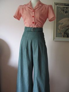 1930's/1940's Vintage Style Green Denim by allureoriginalstyles ~ I need this in my closet!!!