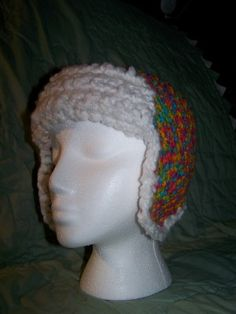 Love the look of this rainbow yarn aviator styled hat.  The white fluffy trim is so soft!