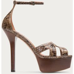 Bally SABIENNE Women´s python sandal in Peanut ($1,250) ❤ liked on Polyvore featuring shoes, sandals, cut out gladiator sandals, platform stilettos, brown shoes, stilettos shoes and bally shoes