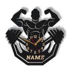 Bodybuilding BIG, LARGE 12-16-18inch Wood Wall Clock, Powerlifting Bodybuilder Coach Gift, Gym Men, Cnc Laser, Wood Wall Art Decor, Wall Clock Design, Coach Gifts, Team Gifts, Wood Clocks, Quartz Clock Mechanism, Gym Men, Wood Signs