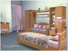 Sets of furniture and decor to design a child's room in a romantic style with elements of Shabby. Found in TSR Category 'Sims 4 Downloads'