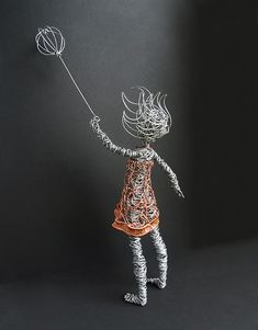 """Hold On To Your Dream Wire Sculpture - back   Girl is 17"""" ta…   Flickr"""