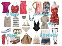 packing for the beach vacation in a carry-on bag. Vacation Wardrobe, Vacation Packing, Travel Wardrobe, Packing Tips For Travel, Capsule Wardrobe, Packing Ideas, Cruise Outfits, Vacation Outfits, Hawaii Outfits