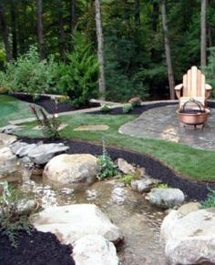 How to DIY a natural creek bed in your back yard (the perfect idea would be to have the creek land in the 'natural' swimming pool and cycle back around!!!)