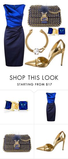 """""""Blue Lagoon"""" by fashionforwarded ❤ liked on Polyvore featuring Bling Jewelry, Talbot Runhof, Fendi, Louis Vuitton and winterwedding"""
