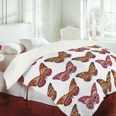 Bianca Green Butterflies Fly Duvet Cover  for La'akea