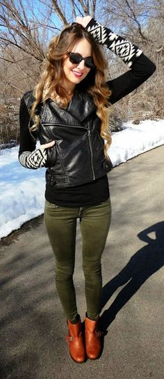 Street fashion for fall olive pants, leather coat and printed sleeves