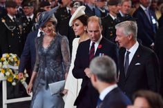 Prince William Duke of Cambridge talks with King Philippe of Belgium and Catherine Duchess of Cambridge talks with Queen Mathilde of Belgium as they...