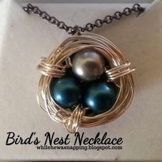 Bird's Nest Necklace.  Mother's necklace.  Really easy and only takes about 30 minutes.  Use different color beads to signify each kid.