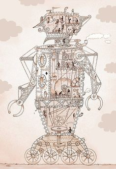 """""""they worked in a giant metal man"""" robot illustration by Loui Jover Iron Man Ted Hughes, Robot Illustration, Illustrations, Blueprint Drawing, Robot Technology, Robots For Kids, Drawing Projects, Robot Art, Sci Fi"""