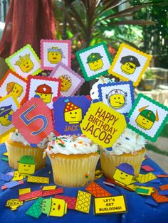 LEGO Style Birthday Party Cupcake Toppers by TheHappyBirthdayShop, $11.00