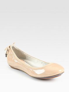 That soft color. Love it! Cole Haan Air Patent Leather Suede-Trimmed Ballet Flats
