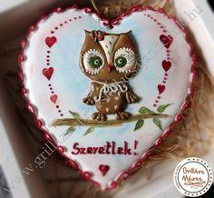 Szerelmes bagoly Valentin napra mézeskalácson
