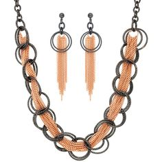 BERRICLE Two-Tone Fringe Open Circle Fashion Necklace and Earrings Set ($49) ❤ liked on Polyvore featuring jewelry, earrings, earrings and necklace set, sets, women's accessories, earring jewelry, two tone jewelry, bohemian style earrings, post earrings and circular earrings