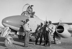 Squadron Leader Dennis Barry one of No flight commanders in the cockpit of Meteor at Manston. The other pilots are left to right: Pilot Officer I Wilson Warrant Officer F Packer Warrant Officer T Woodacre and Flying Officer H Moon. Navy Aircraft, Ww2 Aircraft, Military Aircraft, Us Air Force, Royal Air Force, Gloster Meteor, Warrant Officer, Ww2 Photos, History Online