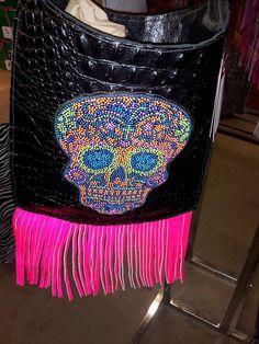 Kurtmen Fringed  Cross Body Bag Indian Chief or Sugar Skull.  www.itsthecowgirlway.com