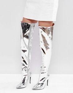 Public Desire – Poison – Overknee-Stiefel in Silber