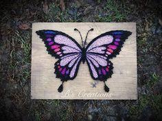 butterfly art projects - butterfly art projects How To Make Papillon Violet, Art Papillon, String Art Diy, String Crafts, String Art Heart, Resin Crafts, Butterfly Crafts, Butterfly Art, Purple Butterfly