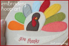 Give Thanks Embroidery Hoop Art