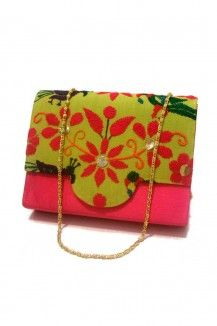 Neon Embroidery Clutch by Niche