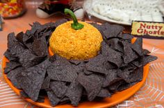 Nacho flavored Cheese Ball with tortilla chips Sugar & Spice by Celeste: Halloween Fun Halloween Apps, Halloween Themed Food, Halloween Appetizers, Holidays Halloween, Happy Halloween, Halloween Party, Halloween Witches, Food Themes, Food Ideas