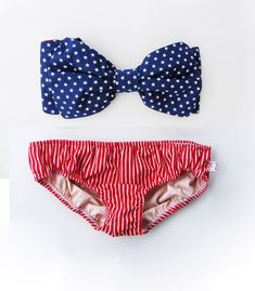 55a60727b40 Items similar to All Cotton Vintage Bow Bikini Style Bandeau Sunsuit. DiVa  Halter Neck.Miss USA Stars Bikini Top Red White Stripe Panties.