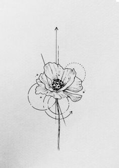 Single Poppy; tattoo flash