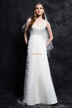 V-Ausschnitt Frühling Empire Brautkleider 2014
