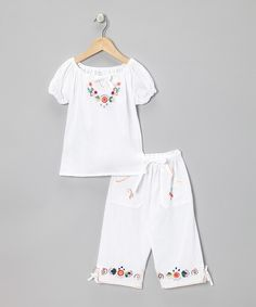 Loving this White Floral Top & Capri Pants - Infant, Toddler & Girls on #zulily! #zulilyfinds
