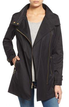 MICHAEL MICHAEL KORS Asymmetrical Zip Stand Collar Coat. #michaelmichaelkors #cloth #