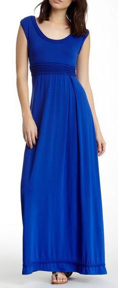 Max Studio Raw Edge Trim Maxi Dress