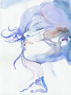 Watercolour Fashion Illustration Print   Eva by silverridgestudio.