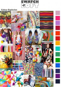 Colour Explosion is a modern and contemporary for this season that is full of bold hues and funky patterning. A blast of paint splattered prints appear throughout all the catwalks this year from Kenzo to Celine it makes it a perfect trend choice for fashion or home ware.