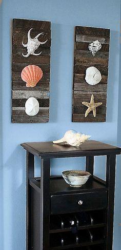 WALL ART!  Beach Decor Shells on driftwood for Coastal by BeachArtDesigns, $42.00