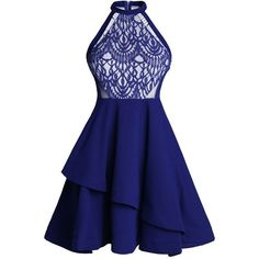 High Waist Lace Panel Mini Dress ($21) ❤ liked on Polyvore featuring dresses, lace insert dress, short dresses, mini dress, lace inset dress and blue dress