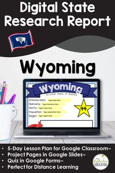 Digital State Research | WYOMING for Google Classroom™ | Distance Learning is a 5-day lesson plan for upper elementary students. Students conduct an online research project about the state to find information about symbols, the flag, and other basic facts. This resource is compatible with Google Classroom and for distance learning. WYOMING Digital State Research Project is easy for teachers and engaging for students. Lesson Plan Outline, 4th Grade Social Studies, Research Projects, Google Classroom, Upper Elementary, Distance, Students, Missouri, Flag