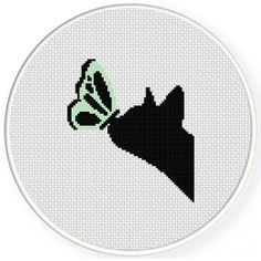 Butterfly And Cat Cross Stitch Illustration