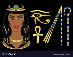 Cleopatra egypt queen vector image on VectorStock Cleopatra, Egypt Queen, Eye Symbol, Single Image, Fashion Illustrations, Adobe Illustrator, Vector Free, Pdf, Symbols