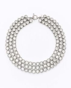 ANN TAYLOR  Triple Row Crystal Statement Necklace