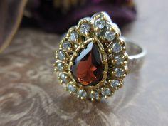 Garnet Gemstone and Sterling Silver & Brass Ring - Size 9