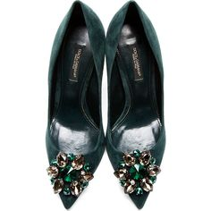 Dolce And Gabbana Green Crystal Accent Suede Pumps (5 110 UAH) ❤ liked on Polyvore featuring shoes, pumps, heels, clear heel shoes, suede pumps, clear pointed toe pumps, suede shoes and clear shoes