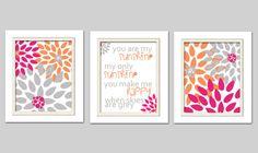 Nursery Flower Prints, You are my sunshine, Hot pink orange and gray nursery, Set of 3, 8X10