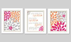 DETAILS  Pretty You are my sunshine flower prints Set of 3 8x10 Prints (The frames are not included)    If you would like a different poem/quote then