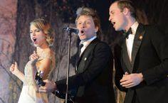 Príncipe William canta com Taylor Swift e Jon Bon Jovi durante jantar de gala de Centrepoint, no Palácio de Kensington, em Londres.